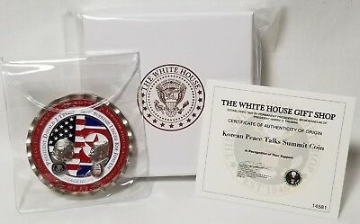 AUTHENTIC White House Trump Kim Jong-Un #1 Peace SUMMIT COIN NUMBERED COA+CASE