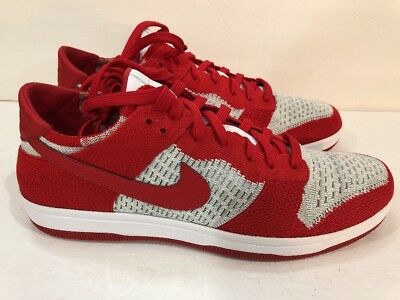 99a365b6a6d1b Size 12.5 Nike Dunk Low Flyknit University Red White-Grey Mens Shoes 917746-
