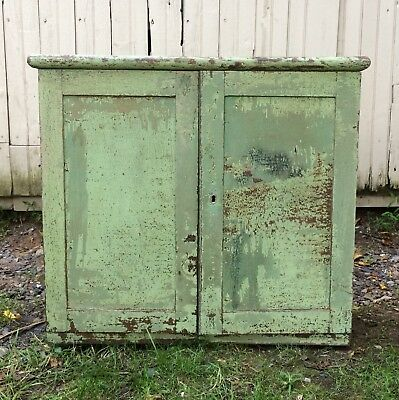 19th Century Green Primitive Painted Cabinet