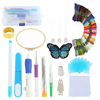 Cross Stitch Embroidery Starter Kit Craft DIY Tools Colorful Fabric-Set UK