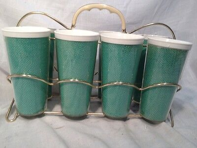 Vintage Green Raffiaware Thermo Temp Tumbler  Cups Set Of 8 With Carrier Caddy