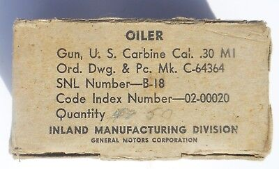 Original Us Wwii 1943 Inland M1 Carbine Oiler Box For 50 Oilers (Empty), Vg