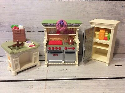 Fisher Price Loving Family Kitchen- Fridge, Island, Stove/Oven, Groceries, Food