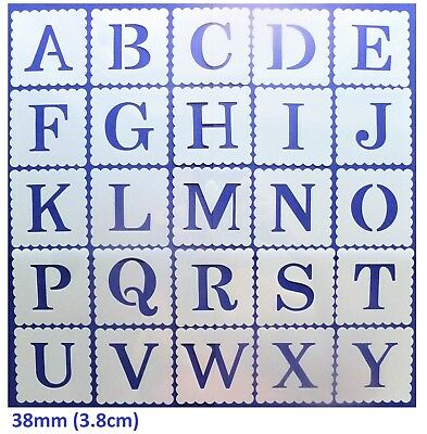 ALPHABET LETTER & NUMBER STENCILS 38mm (3.8cm) Flexible 127micron Mylar