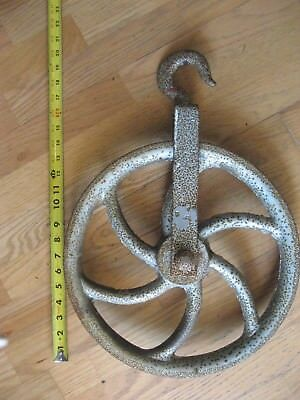 "Old well & barn pulley LARGE 14"" wheel !! heavy duty Cast iron vintage rustic"