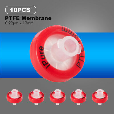 10pcs Nonsterile Hydrophilic Syringe Filter 0.22μm/13MM PTFE Membrane Lab Apply