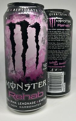 Monster Energy Drink Rehab Pink Lemonade Discontinued Cans - 2 Full Cans