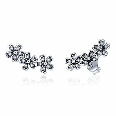 37e6b5f09 Authentic 925 Sterling Silver Dazzling Daisy Stacking Stud Earrings W/  Clear CZ