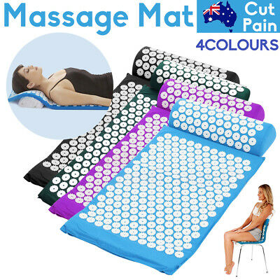 Acupressure Mat and Pillow Set Neck Back Pain Stress Relief Muscle Relaxation