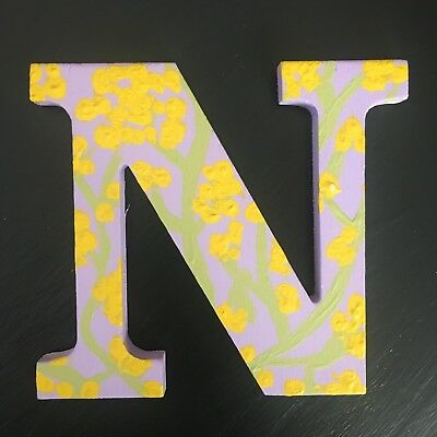 """Hand Painted Wooden Letters Monogram Initials """"N"""" 5"""" Tall 0.5"""" Thick"""