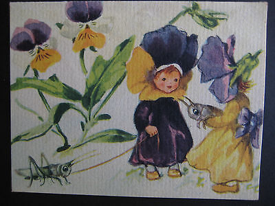 1940s vintage greeting card Brownie Pansy Girls w/ Pet Grasshoppers