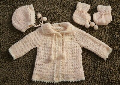 Vintage*3pc Pink Sweater Set*Baby Girl Size 6-12mos