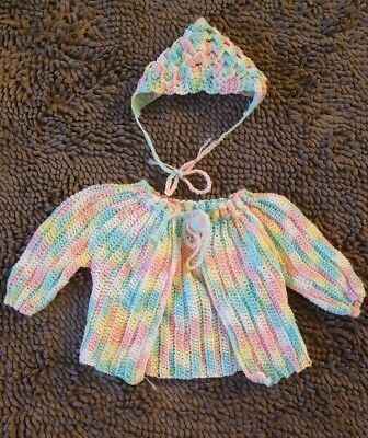 Handmade*Vintage Rainbow Sweater+Hat*Toddler Girl 9-12mos*EVC