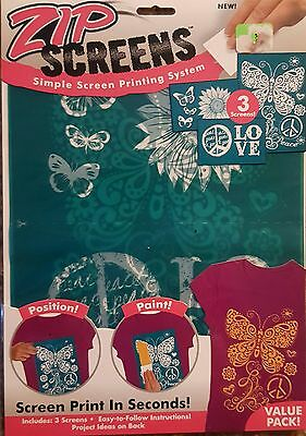 ZIP Screens Print Stencil Create Fashion butterfly, flowers, Peace and love