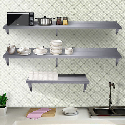 Outstanding 3 Size Floating Wall Shelf Wall Mounted Kitchen Shelf Stainless Steel Bar Cafe Best Image Libraries Thycampuscom