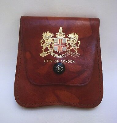Vtg Leather Coin Purse CITY OF LONDON Squire Gold Logo Snap Made in England
