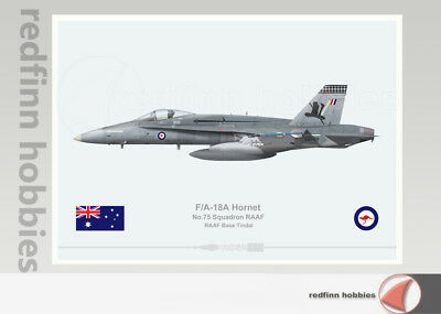 Warhead Illustrated F/A-18A Hornet RAAF 75 Sqn  A21-29 Top Hat Aircraft Print