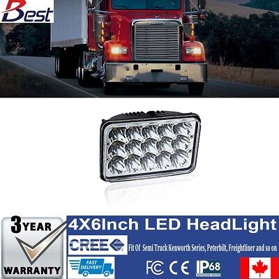 "4x6"" LED Headlights Bulbs Hi/Lo Sealed Beam truck freightliner kenworth W900T600"