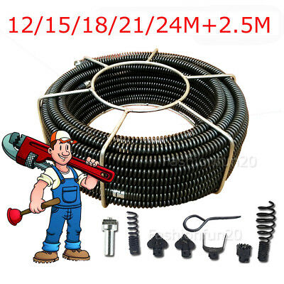 Plumber Drain Snake Pipe Pipeline Sewer Cleaner 24M+2.5M w/ 6 Drill Bit Drill AU