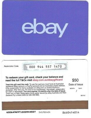 FOR COLLECTION ONLY – 1 x USED A$50 Australia ebay gift card, NO VALUE