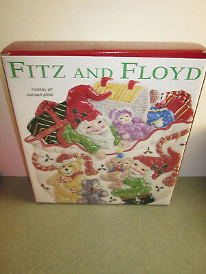 "Fitz and Floyd Christmas Holiday Elf Canape 9"" Plate New In Box"
