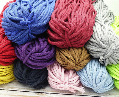 10M Long Colorful Cotton Rope String Cord 5mm Dia For Craft DIY Making Weaving
