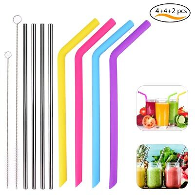 Drinking Straws Kit 4 Silicone Straws 4 Stainless Steel Straws with 2 Brushes