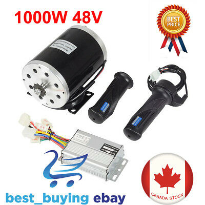 1000W 48V DC Electric Motor Kit w/ Base Speed Controller & Foot Pedal Throttle