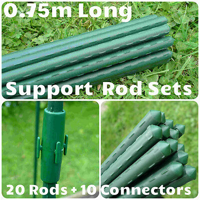 20x 2.5ft Plastic Coated Steel Bamboo Cane Plant Support +10 straight Connector