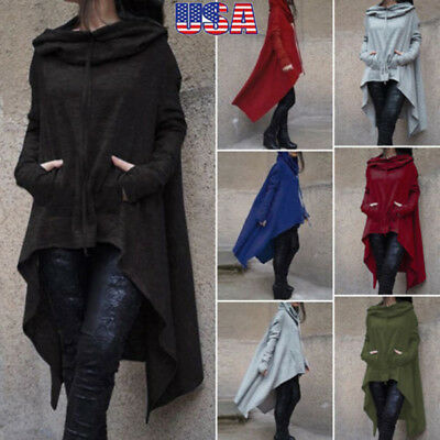 Women Winter Hoodie Long Hooded Top Casual Sweatshirt Sweater Asymmetric S-XL YK