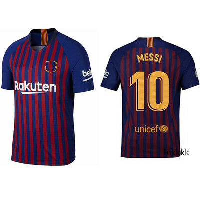 New 18 19 Spain Lionel Messi #10 Men's Home Soccer Football Jersey