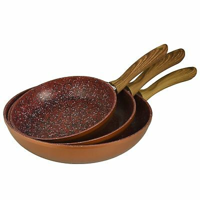 Copper Stone Frying Pans Anti Scratch Non-Stick Hard Wearing Handle Wood Effect