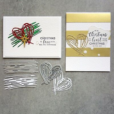 Shopaperartz SCRIBBLE HEART & BACKGROUND ACCENT CHRISTMAS BIRTHDAY CUTTING DIES