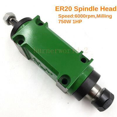 ER20 Spindle Unit Power Head Flange 60mm CNC Drilling Tapping Milling 6000rpm