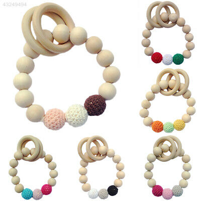 Baby Teething Natural Round Wood Bracelet Wooden Teether Toy Safty Random Color