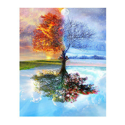 Frameless Four Seasons Tree Landscape DIY Painting By Numbers Kit Paint On U2T7