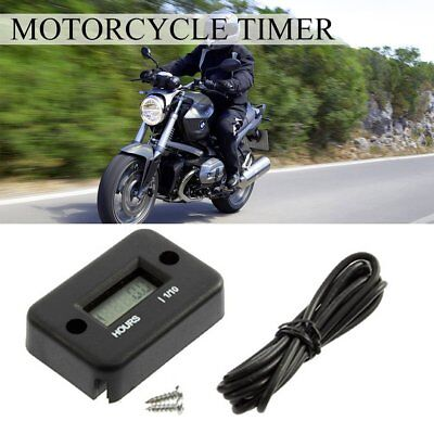 Black Auto Timer Hour Meter for Motorcycle ATV Snowmobile Marine Boat Ski Bike