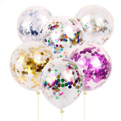 "5/10/pcs 12""Foil Latex Confetti Balloon Baby Shower Wedding Birthday Party Decor"