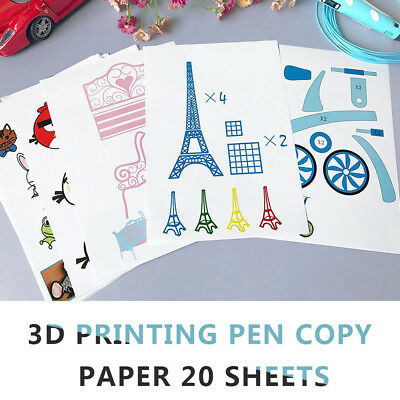 20 Paper 3D Drawing Pen Templates Printing Model Crafting Mold Guide Tool