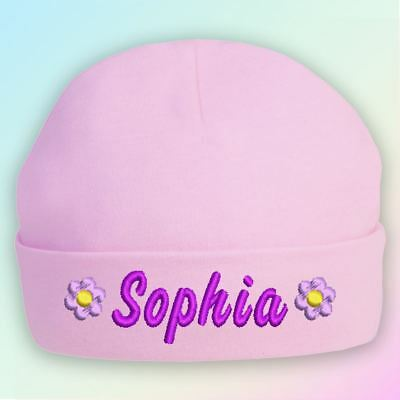 Name - Flower Embroidered Baby Beanie Hat Gift Personalised