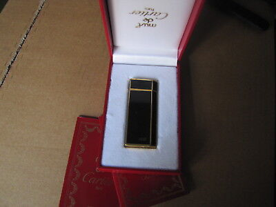 Cartier Accendino Briquet Lighter In Lacca Nera Trapezioidale Raro Full Set .