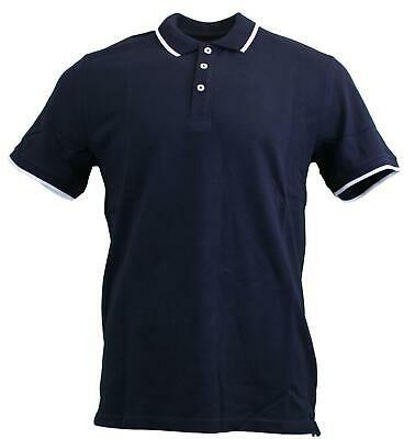 Peter Werth Mens Classic Plain Tipped Smart Casual Polo Shirts - Navy