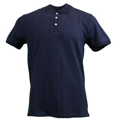 Peter Werth Mens Classic Plain Smart Casual Waffle Knit Polo Shirt - Navy
