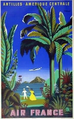 Affiche AIR FRANCE Antilles Amérique Centrale Villemot 1948