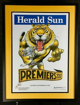 Framed Richmond Tigers 2017 Premiership Poster - Mark Knight - Herald Sun