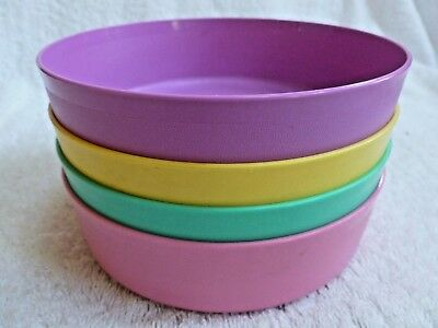 4 Tupperware 1551 Cereal Bowls ONLY  Easter colors pink purple yellow green VGUC