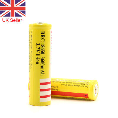 2Pcs 18650 Battery 3.7V 3600mAh Rechargeable Li-ion Yellow