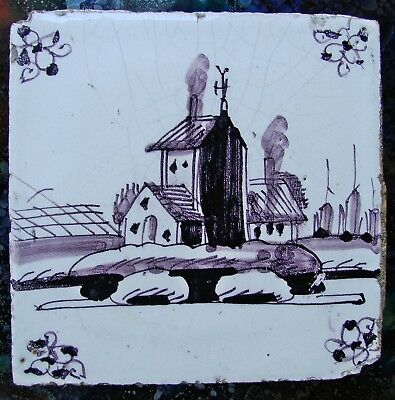 Antique Dutch Delft Tile Manganese Hand Painted Scene 18th Century