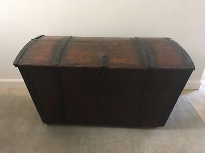 Antique Immigrant Trunk Chest Norwegian Scandinavian Swedish