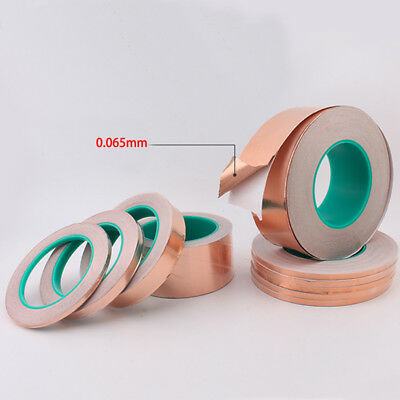 20m/Roll Copper Foil Tape Shielding Sheet Double-sided Conductive Width 5-50 mm
